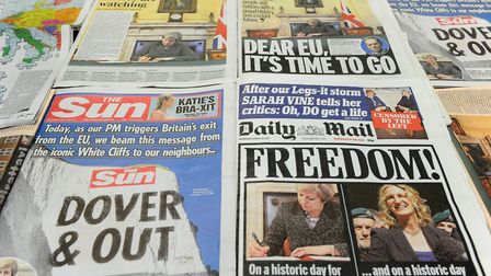 An arrangement of newspapers pictured in London on March 29 2017, Photo Credit: DANIEL SORABJI/AFP/