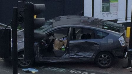 Police respond to a car crash at the junction of Green Lane and High Road, Ilford. Photo: Samiha
