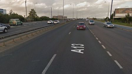The car overturned on the Alfreds Way section of the A13 Picture: Google Maps