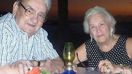 Jean Hurley, with her husband Roy who passed away in 2013. The money stolen from her home was made u