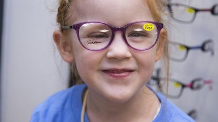 Kitty Woodstock, five, at the Vision Express opening at Romford Gallows Corner Tesco. Photo by Ellie