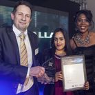 Recorder editor Michael Adkins giving out an award with Tessa Sanderson CBE. Pic: Paul Boyling