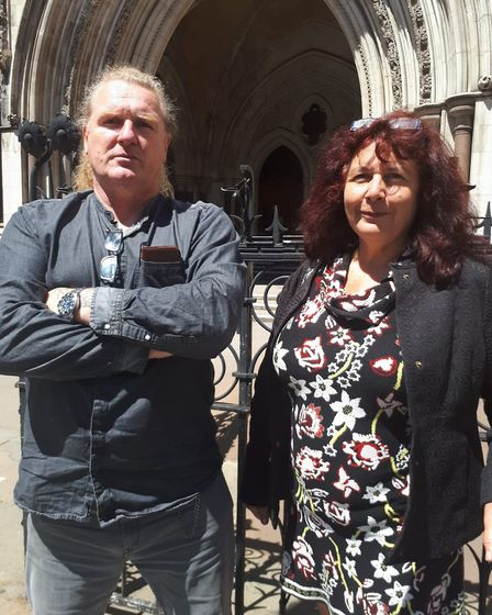 Alan Gowing, with Gillian Temple from the Scrap Metal Dealers Association outside of the Royal Justi