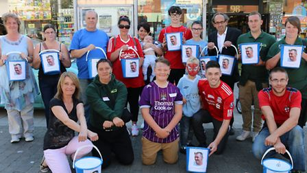 Scott Smith's friends and family collecting donations in Lowestoft.