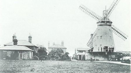 Upminster Windmill in 1900 - Upminster's original Congregational church stood opposite. Picture: Bri