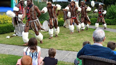 PERFORMANCE: Zulu Warriors at Oulton Park Care Centre. Pictures: MICK HOWES