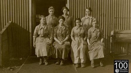 Mary Jamieson is seated in the front row, second on left at Hare Hall camp in Gidea Park.