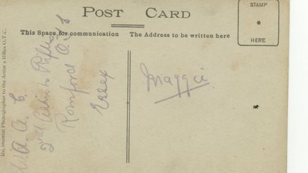 The back of a postcard with the text, 'WAAC 2nd Artists Rifles, Romford OTC, Essex'.