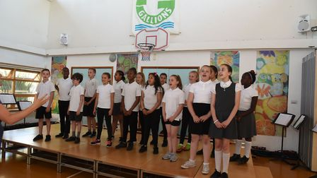Gallions Primary School choir celebrating becoming an academy. Picture: Ken Mears