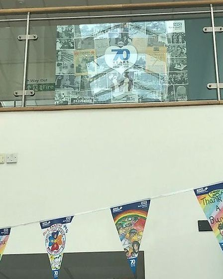 A banner and bunting at Newham University Hospital. Picture: @NewhamHospital