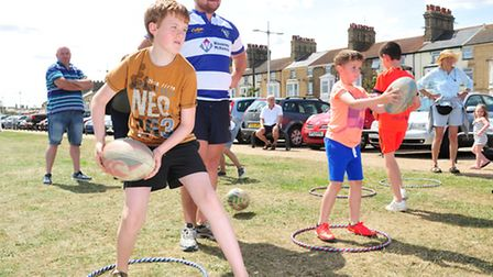 Lowestoft Summer Festival 2015.sports on the greeen. Lowestoft and Yarmouth Rugby Club hold demonst