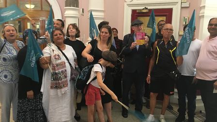 Campaigners opposed to schools becoming academies at Newham Town Hall on Tuesday, July 3. Pic: JON K
