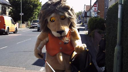 Reggie the lion from Africa Alive! taking part in the litter pick in Kessingland.