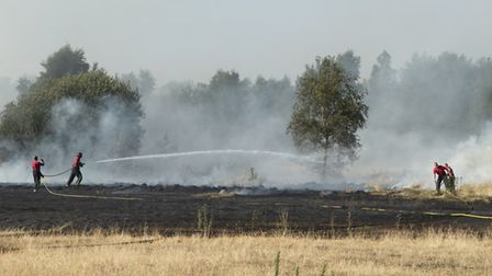 """Firefighters tackle a wildfire in Wanstead Flats on July 15 2018, London's """"biggest ever grass fire"""""""