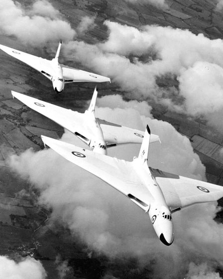 Vulcan bombers from RAF Waddington flying in formation in 1957. Picture: RAF
