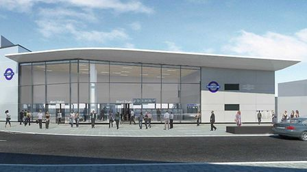 An artist's impression of what the new Ilford station 'the glass box' will look like. Picture: Cross