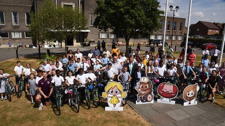 50 children receiving free bikes from the council after promoting the award-winning veggy app.
