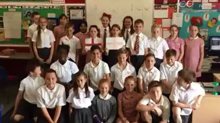 Pupils at an Upminster primary school sang in support of England ahead of their next World Cup game