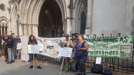 Campaigners from Focus E15, the housing group, outside court on the morning of Sara's appeal. Pictur