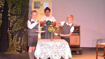 L-R: Joe Rolfe, Lola Samuel and Bobby Rolfe who are featuring in this year's community play at The B