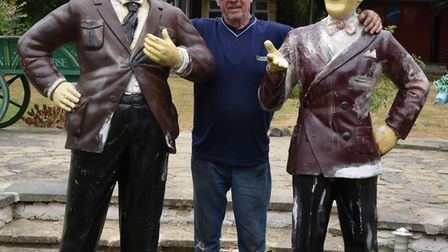 The Laurel & Hardy statues back with their owner.