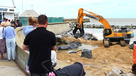 Repair works close to the Childrens Corner area in Lowestoft. Picture: Mick Howes