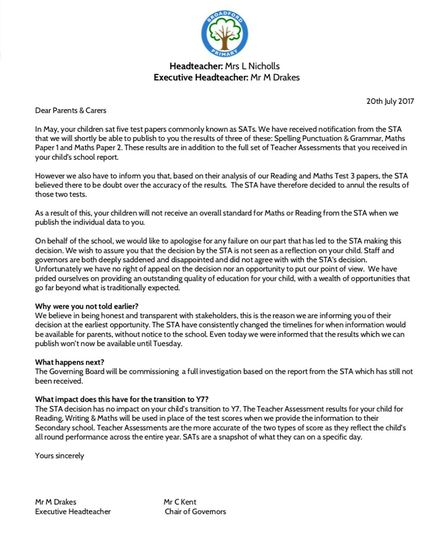 The letter sent to all parents at Broadford Primary School.