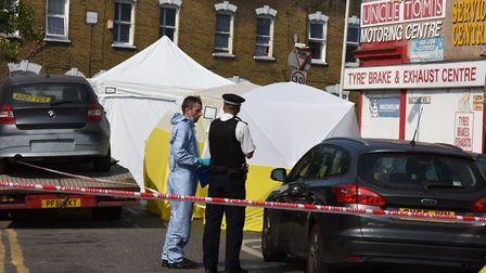 Police and a forensic team investigate a shootout in Bective Road, Forest Gate. Picture: Forest Gate