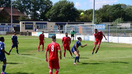 Action from the pre-season friendly between Redbridge (red shirts) and Newbury Forest at Oakside Sta