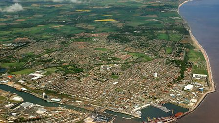 An aerial view of Lowestoft, looking north. A photo from Mike Page's book, Suffolk Coast from the Ai