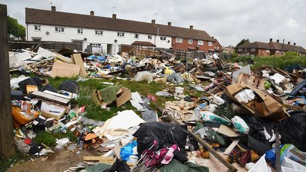 Rubbish left by illegal travellers at the Pompadours pub site