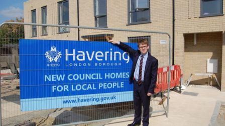 Havering Council leader Cllr Damian White at the new Lombard Court council housing development in Ro