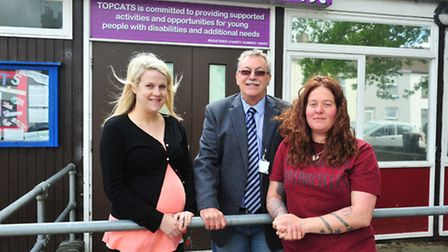 Sara Poppy (dep manager), Frank Mortimer and Kate Osborne (manager) of Topcats. Picture: Nick Butche