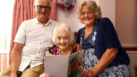 Ivy Kettless celebrating her 100th birthday. Pictured with her son Neil and daughter Pauline Keeler.