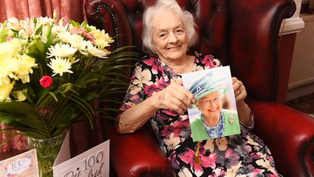 Ivy Kettless celebrating her 100th birthday. Picture: James Bass