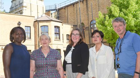 Katherine Kerswell, centre, with mayor Rokhsana Fiaz and members of the appointment panel, deputy ma