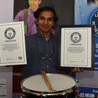 Pandit Das who has broken the Guiness World Record for the longest drum roll.