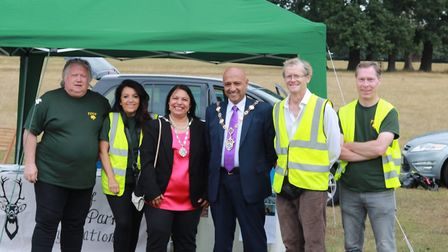 The Mayor of Havering, councillor Dilip Patel with the Friends of Dagnam Park. Picture: Tim Doman.