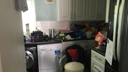 The cramped kitchen at Isabel's council flat in Brentwood. Picture: Emma Youle
