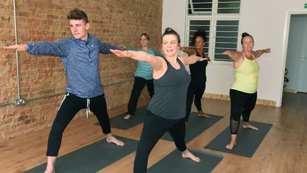 Reporter Liam Coleman taking part in a yoga class at A Fine Balance Studio in Upminster