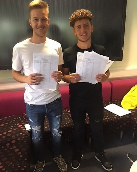 Friends Ziggy Zubkus and Kevin Jaku from Dagenham, who both achieved three A*s in maths, further mat