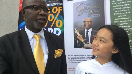 Sofia Monforte, pictured with Professor Chris Imafidon, is believed to be the youngest person in the