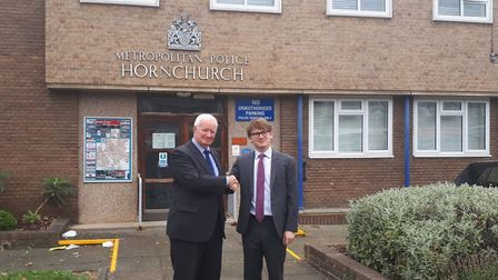 Former leader of the council, Roger Ramsey and Damian White, leader of the council outside of Hornchurch Police Station...