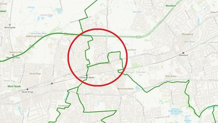 The circled area is Chadwell Heath where the boundary proposal splits it between three MPS. Photo: B