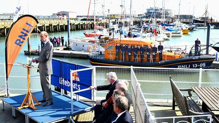 The Duke of Kent speaking at the naming ceremony of the 'Patsy Knight' lifeboat in Lowestoft. Pictur