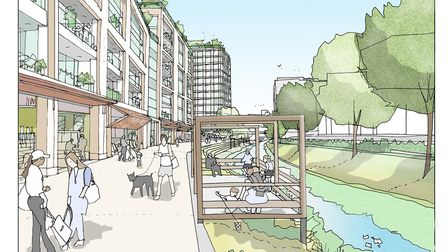 An artist's impression showing the revitalised River Rom. Picture: Alan Wilkinson-Marten.