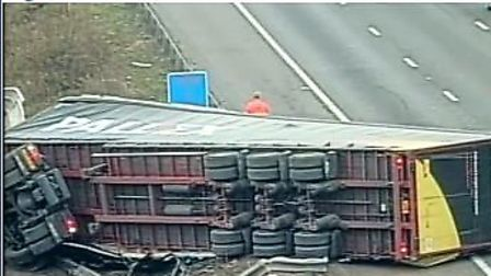 There is heavy traffic on the M25 after a lorry tipped over on the J29 slip road. Photo: Highways En