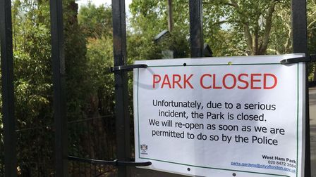 West Ham Park has been closed since yesterday following the sex attack. Pic: Jon King