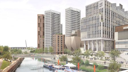 A CGI of Stratford Waterfront, where 600 homes are due to be built. Picture: GLA