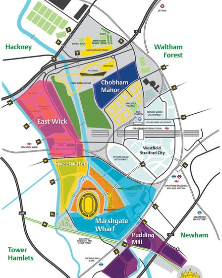 The areas of housing and development planned for the Olympic Park. Picture: OPLC